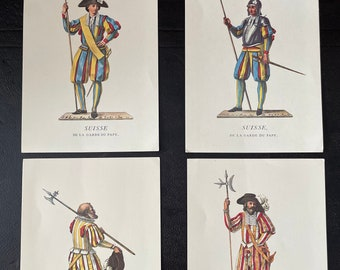 Magnificent collection of 4 color engravings. Swiss guards of the Vatican Pope.