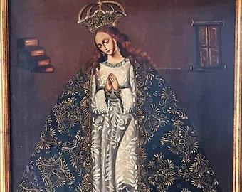 Oil on canvas  Cuzco Virgin