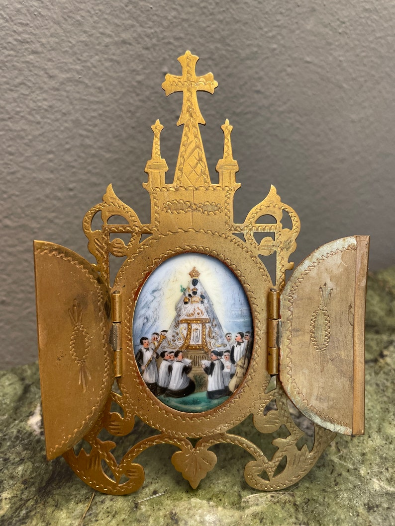 Miniature Beautiful metal chapel with image of Virgin and child Jesus in porcelain