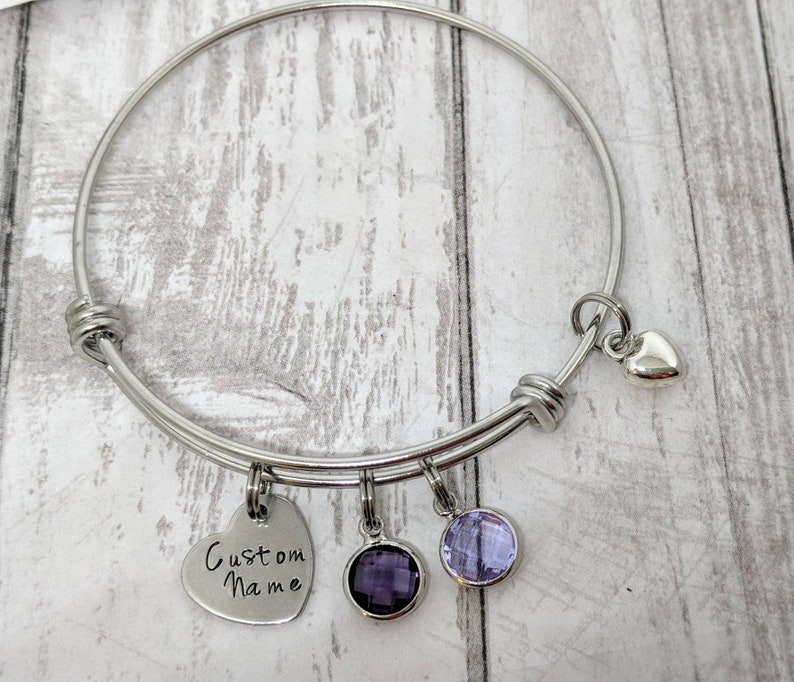 personalized grandmother jewelry MAXIMUM 7 LETTERS custom name bangle personalized birthstone bracelet customized gift