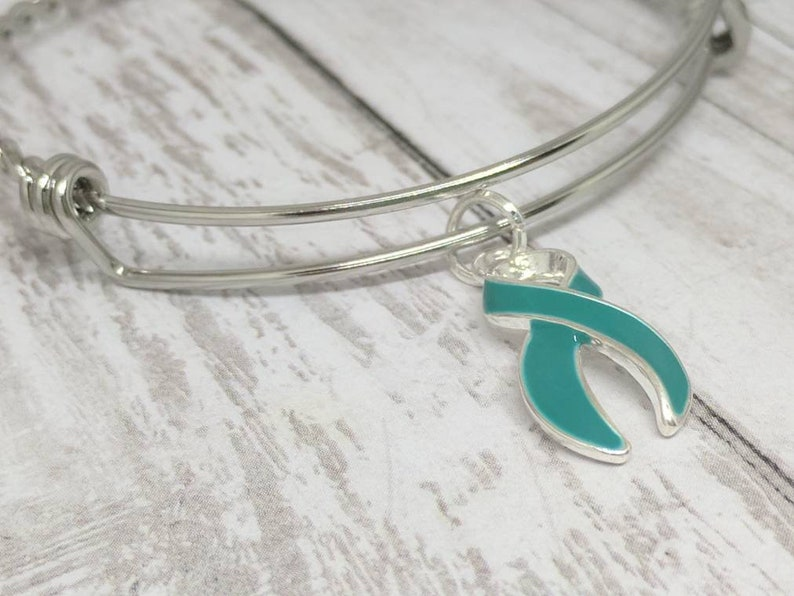 c233fb64c Teal awareness ribbon bangle ovarian cancer jewelry PCOS | Etsy