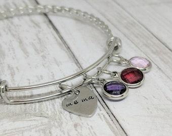 mema bangle - mema bracelet - mema jewelry - adjustable silver bracelet - gift for mema - gift for grandma - mother's day gift