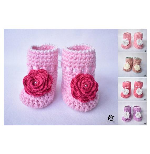 Baby BOOTIES häkeln mit Rosenblüten für Frühchen/Neugeborene   Etsy