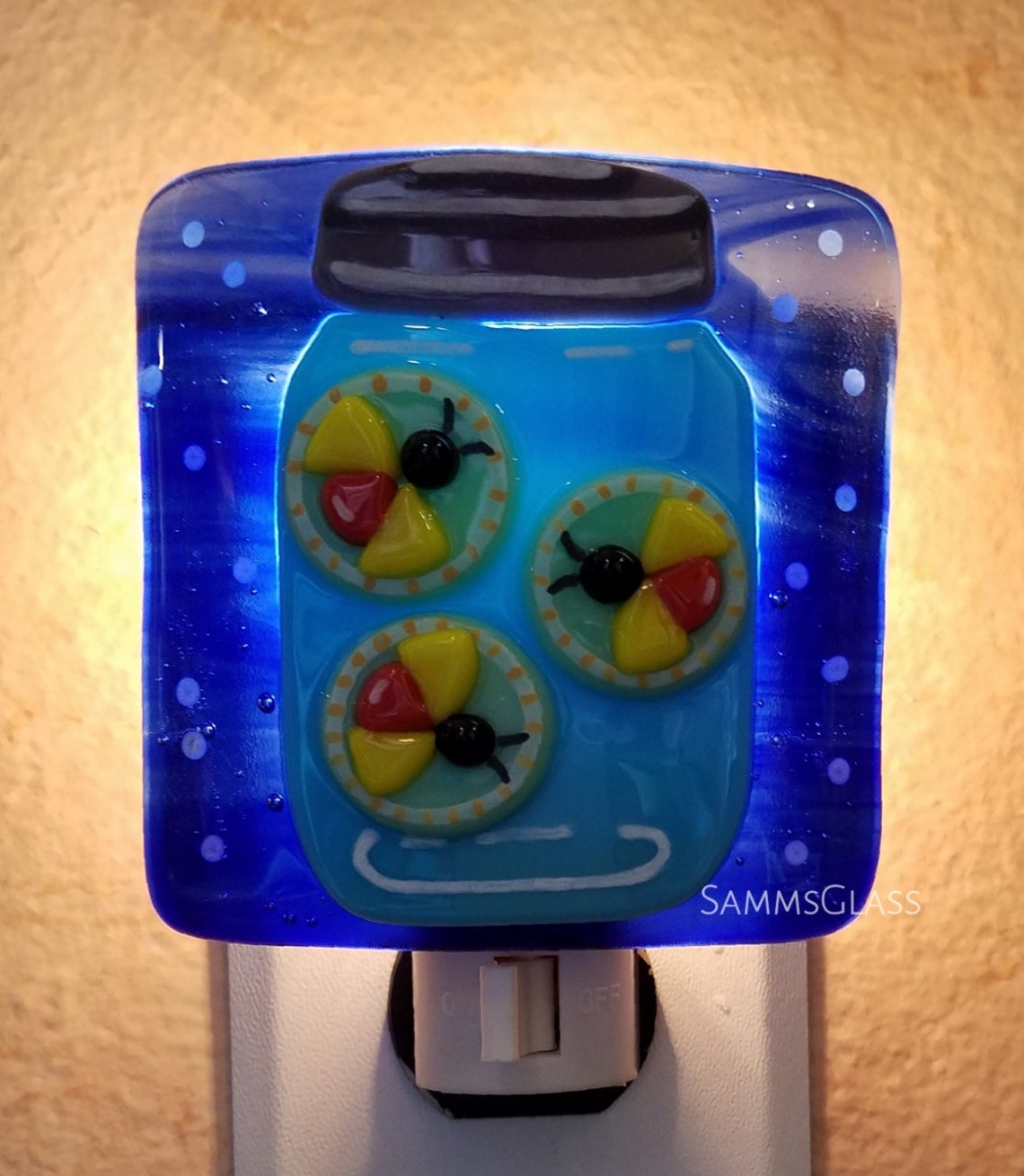 Charming Firefly Night Light Handmade Fused Glass One Of A Kind Eclairage