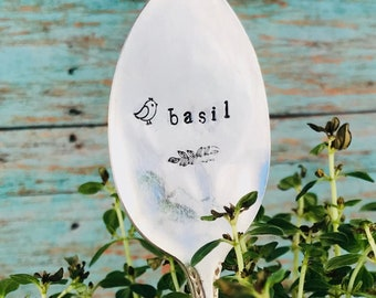 Flat Spoon Garden Markers, Plant Stake, herb marker, sage, rosemary, parsley, oregano, mint, cilantro, chives, basil, reusable, rustic