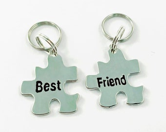 Set Of 2 Pet Tags Best Friends Puzzle Pieces BFF For Dogs Dog Birthday Gift Friend Keychain Necklace Besties My