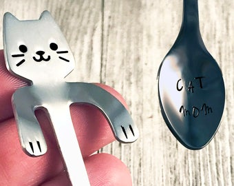 Custom stamped cat spoon, Cat Lover Gift, Gifts for BFF, gifts under 15, crazy cat lady, coworker gift, coffee spoon, stirring spoon