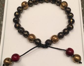 Gunmetal Gold and Burgundy Bead Bracelet