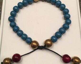 Teal Gold and Burgundy Bead Bracelet