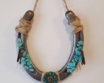 Southwest Turquoise Cow Skull Decorated Horseshoe