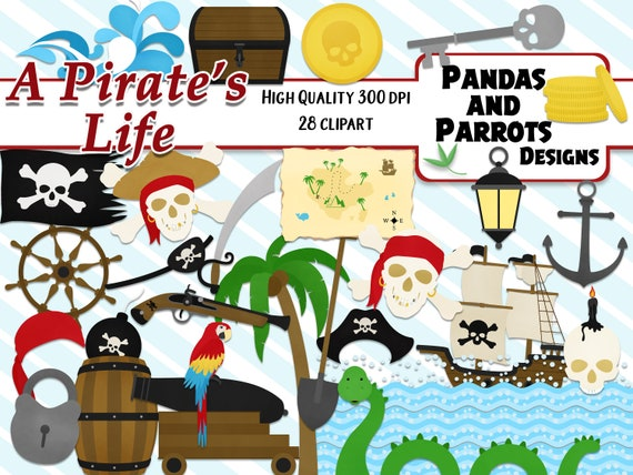A Pirates Life Digital Clipart 28 High Qualiy Png Cliparts Instant Download Anchor Sword Parrot Treasure Chest Captain S Hat Sea Monster