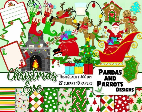 Christmas Eve Clipart.Christmas Eve Clipart Papers Kit 27 Png Cliparts 10 Jpeg Papers Instant Downloado Snowman Fireplace Tree Chimney Santa Present Lights