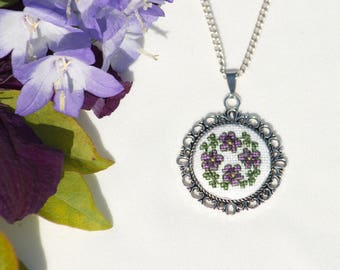 Hand Embroidered Floral Pendant Purple Necklace