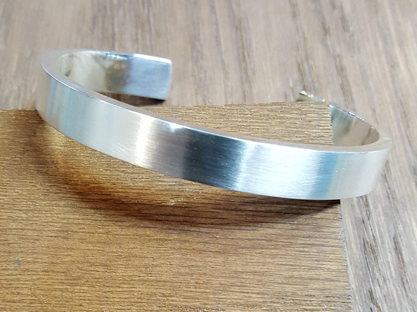 5bc642f1e3c09 Mens Silver Bangle, 58g Handmade Heavy Silver Cuff, Satin Finish, Mens  Silver Bracelet