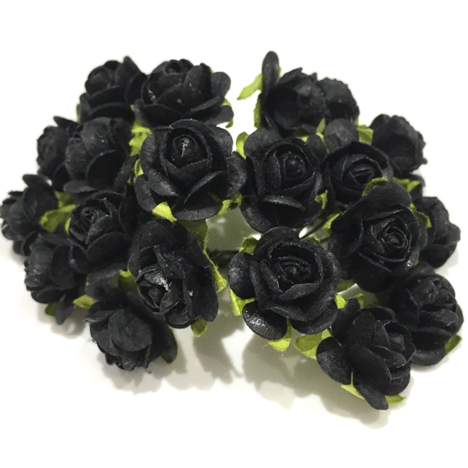 Black Open Mulberry Paper Roses Or079 Etsy