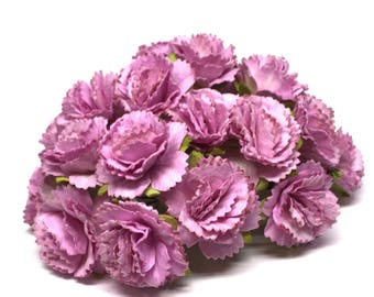 Lilac Mulberry Paper Carnations Pc003