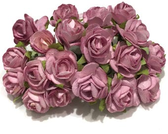 Dusky Pink Open Mulberry Paper Roses Or075