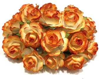 Two Tone Harvest Orange And White Open Mulberry Paper Roses Or099