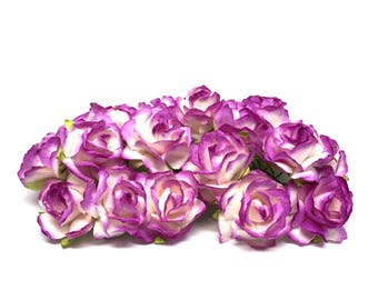 Vibrant Purple And White Classic Mulberry Paper Roses Cr041