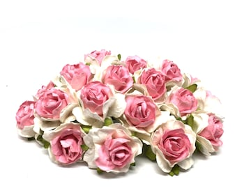 Deep Pink And White Classic Mulberry Paper Roses Cr026