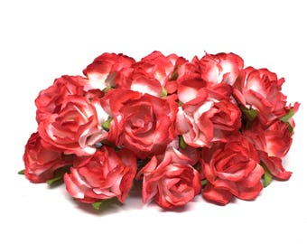 Red And White Classic Mulberry Paper Roses Cr003
