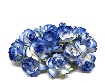 Blue And White Classic Mulberry Paper Roses Cr017