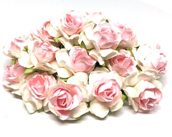 Pale Pink And White Classic Mulberry Paper Roses Cr029