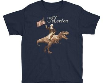 YOUTH George Washington Riding a Tyrannosaurus Rex 'Merica T-Shirt - Funny America Patriotic President Tee - Kids size XS to XL