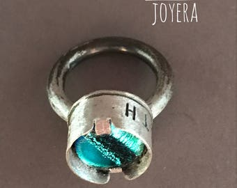 Ring with glass dichroic Faith-Love