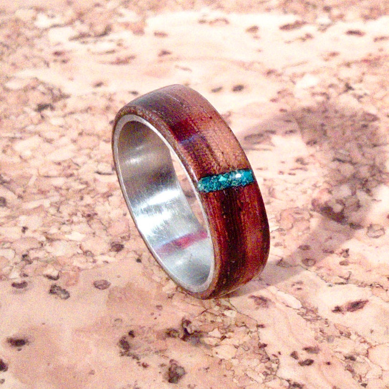 Zebrawood and Stainless Steel Bentwood Ring with Turquoise image 0