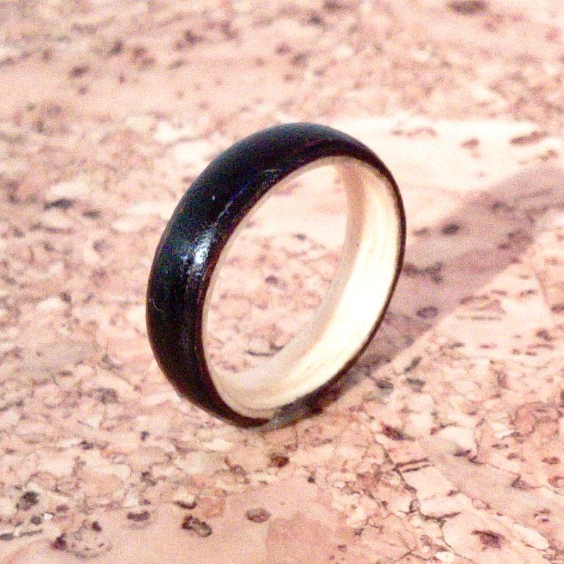 Ebony and Ash Bentwood Ring  Yin and Yang image 0