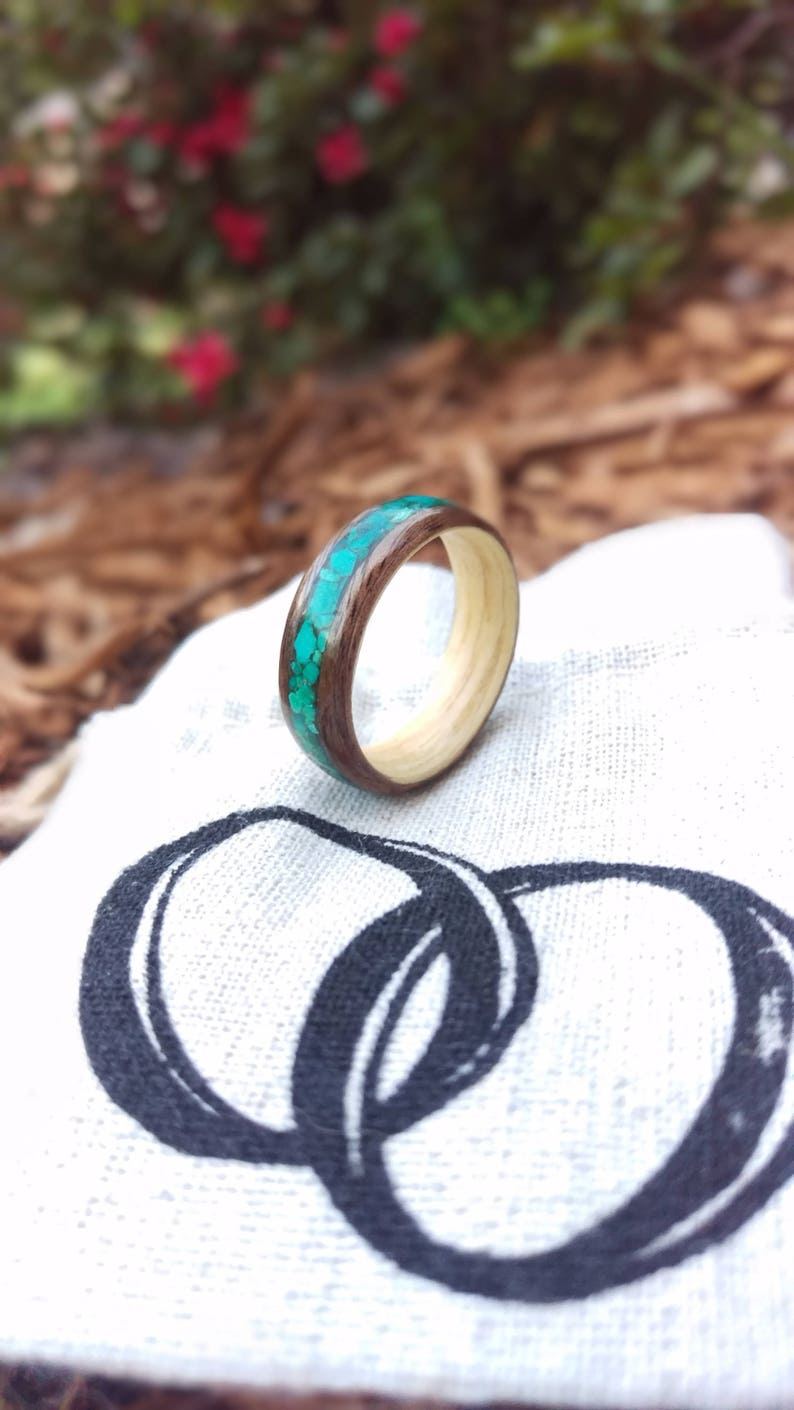 Walnut and Ash Bentwood Ring with Turquoise Inlay  image 0