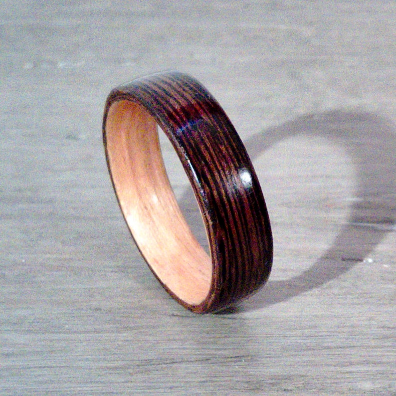 Wenge and Anigre Bentwood Ring  No Offense image 0