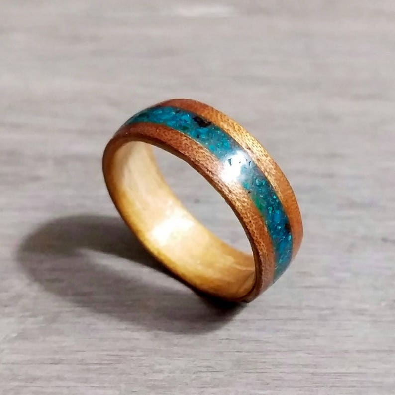 Mesquite Bentwood Ring with Turquoise Inlay  Fire image 0