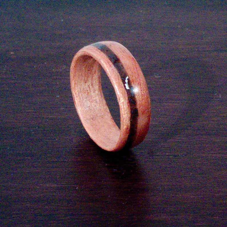 Curupixa Bentwood Ring with Hematite Inlay  Crux of the image 0