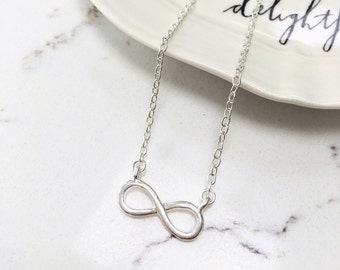 Infinity Charm Necklace - Dainty Pendant - Gold or Silver