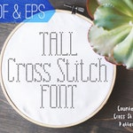 Tall Cross Stitch Font | Counted Embroidery Alphabet Pattern | Simple Narrow Letters | PDF & EPS instant download