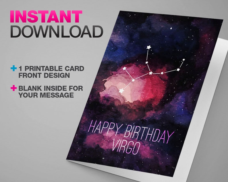 Printable Zodiac Card | Happy Birthday Virgo | Astrology Stars on  Watercolor Galaxy | Instant Download & Print