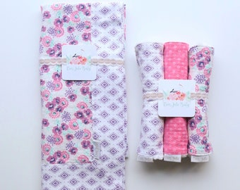 Primrose, Swaddle Blanket, Burp Cloth + Blanket Bundle