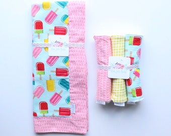 Summer Popsicles, Swaddle Blanket, Burp Cloth + Blanket Bundle