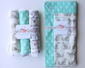Foxes and Arrows, Swaddle Blanket, Burp Cloth and Blanket Bundle
