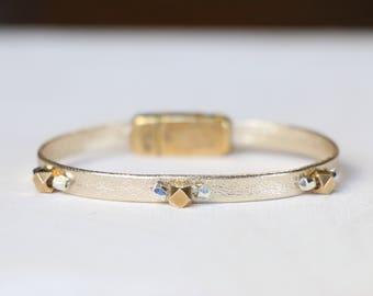 Gold Dainty, Leather Bracelet