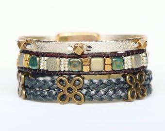 Gold, Slate, and Silver TRIO Bracelet Set