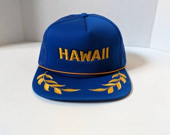 f79ce5a4d3e91 80s Hawaii Embroidered Gold Leaf Trucker Hat From the Navy
