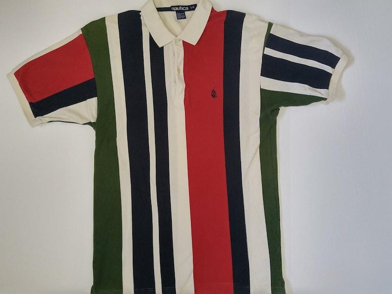 Vintage 90/'s Nautica Striped Knit Polo Shirt