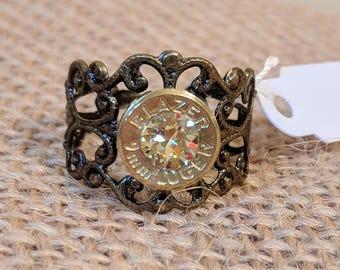 Bronze Filigree Ring w/ Citrine Swarovski Crystal
