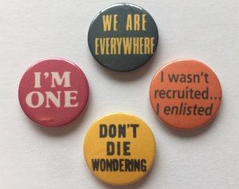 Set of 4 Vintage Remake Lesbian Badges LGBT Gay