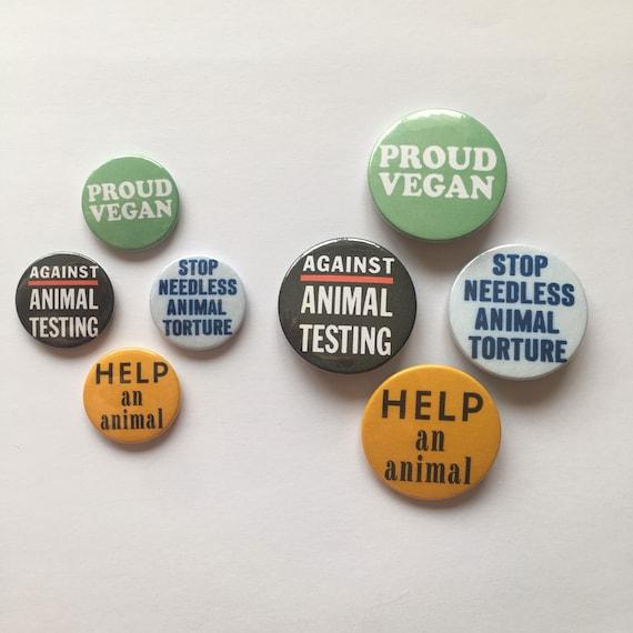 VEGETARIAN Buttons Pins Badges 4 animal rights peta anti-fur VEGAN