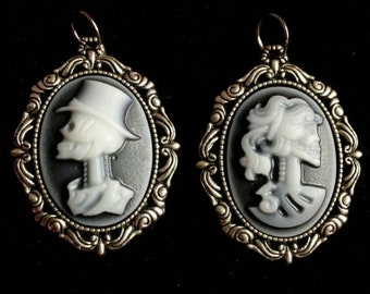 Mr and Mrs Skeleton Cameo Pendant, earring sets