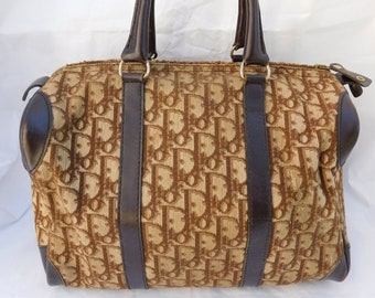75a3185a8bd9 Vintage Christian Dior Monogram Canvas Leather Boston Satchel